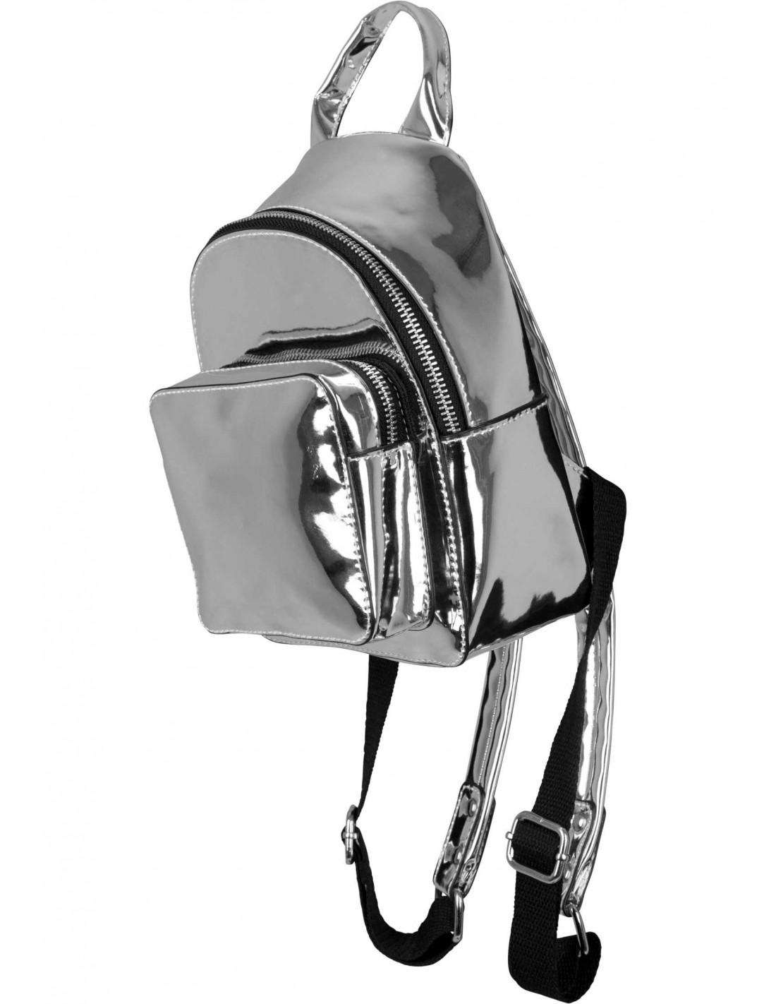 Mini Metallic Backpack Silver