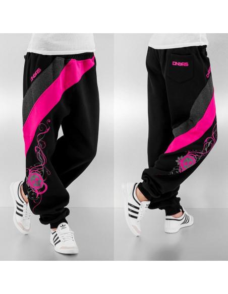 Striped Skull Sweatpants Black/Grey/Pink