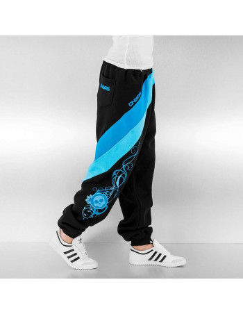 Striped Skull Sweatpants Black/Blue/Turquoise