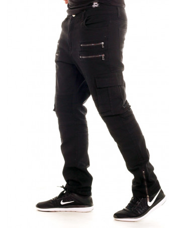 Twill Biker Jeans Black