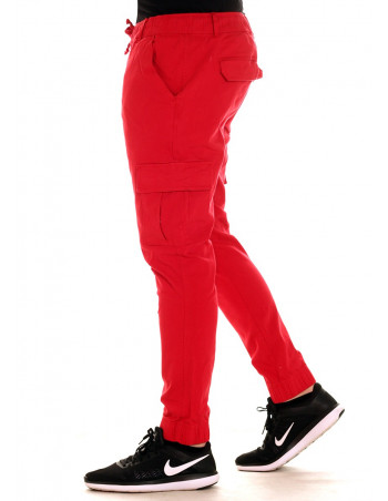 Solid Twill Cargo Jogger Red