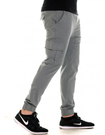 Solid Twill Cargo Jogger Light Gray