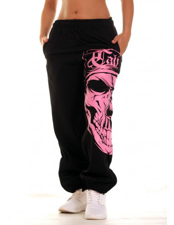 Cali Skull Ladies Sweatpants Pink by BSAT