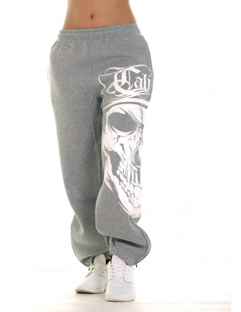 Cali Skull Ladies Sweatpants Grey by BSAT