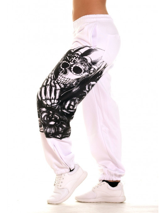 Praying Skull Ladies Sweatpants White by BSAT