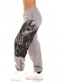 Praying Skull Ladies Sweatpants Grey by BSAT