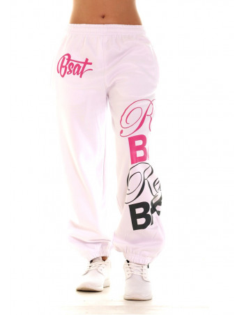 RebelBabe White Sweatpants PinkNGrey by BSAT