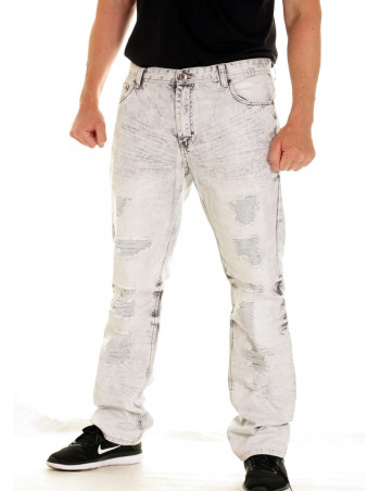 Street Painted Splattered Jeans Grey Washed