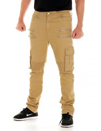 Twill Biker Jeans Dark Khaki