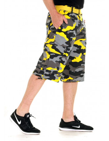 Camo Cargo Shorts BlackNYellow
