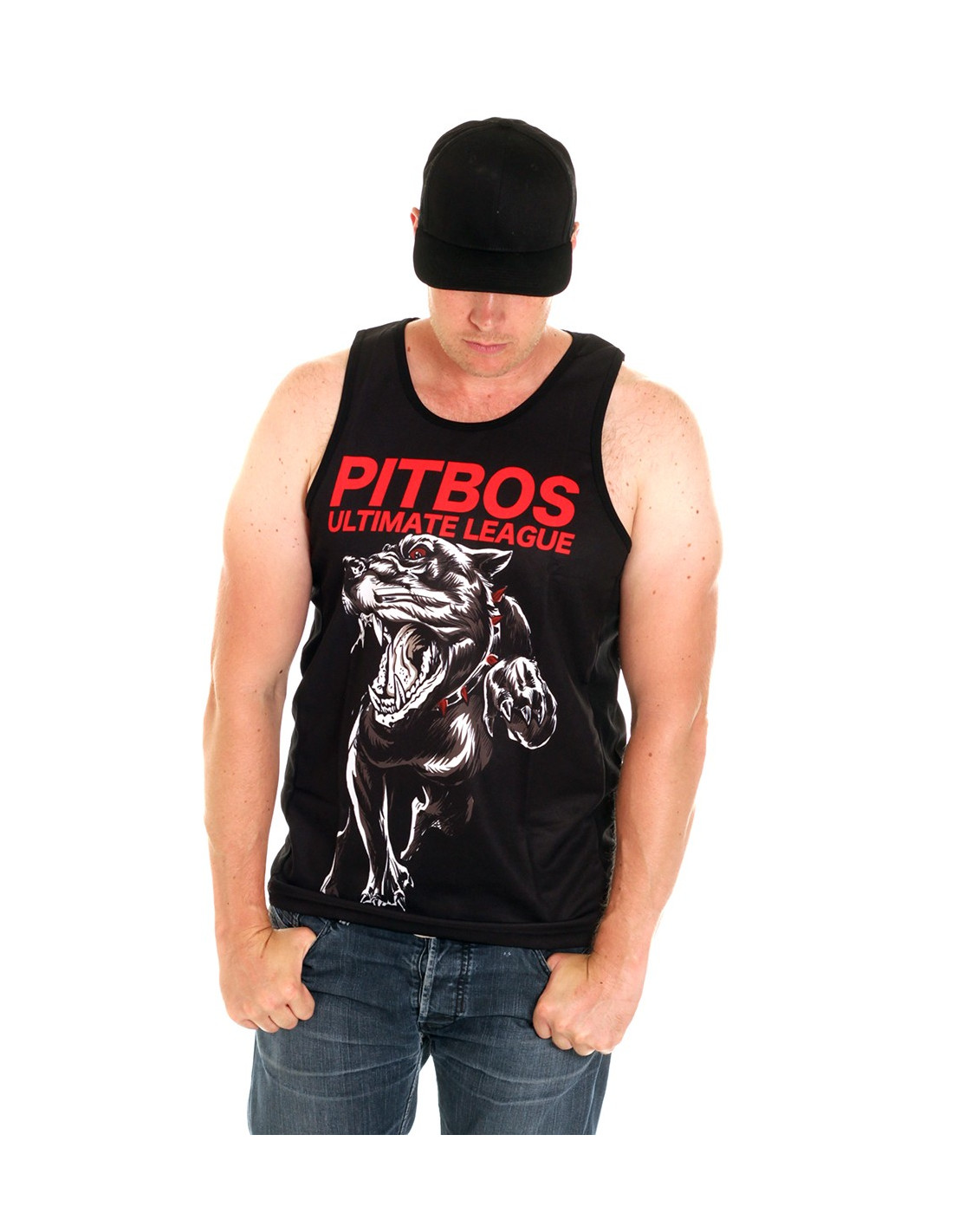 Pitbos Aggressive White n Red Tank