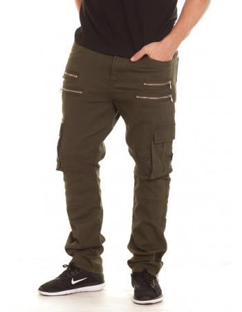 Twill Biker Jeans Olive