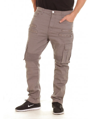 Twill Biker Jeans Light Grey