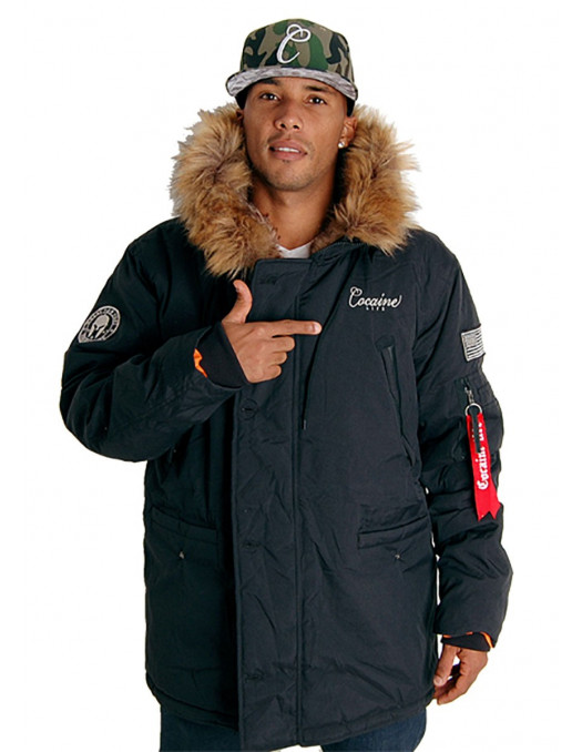 Cocaine Life Basic Parka Winter Jacket Black