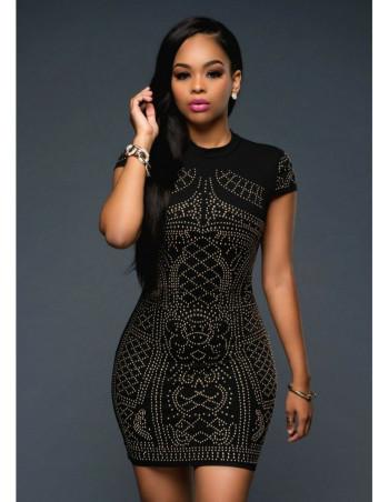 BlackNGold Studded Dress