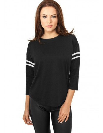 Ladies Sleeve Striped L/S Tee blk/wht