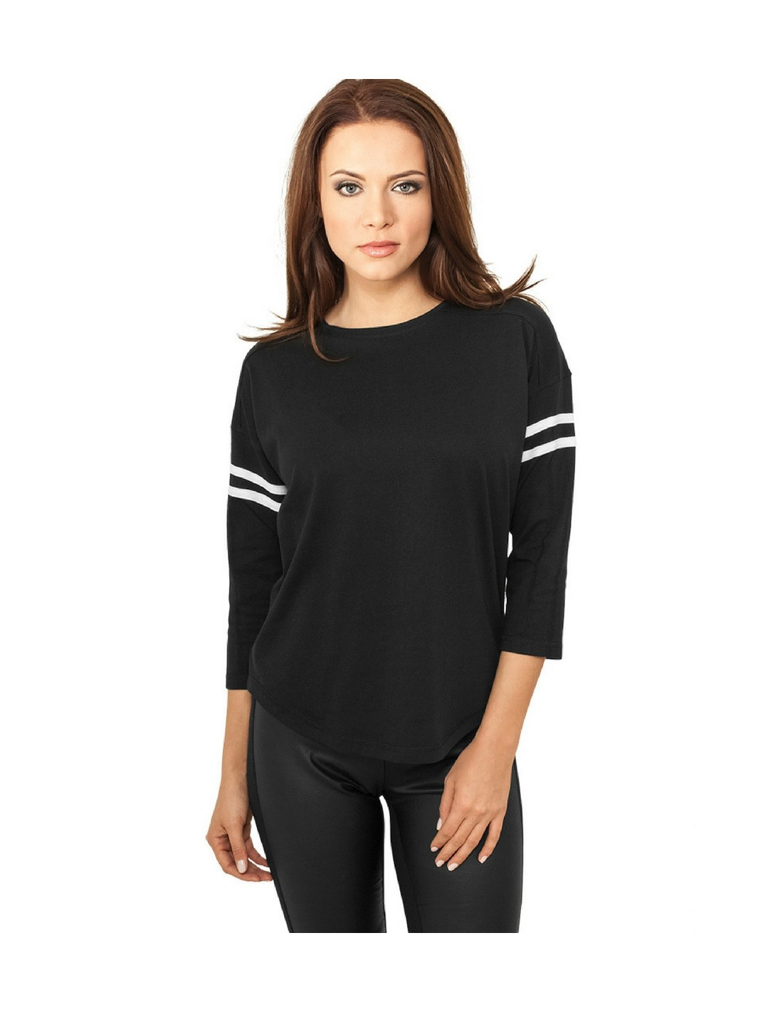 Ladies Sleeve Striped L/S Tee blk/wht