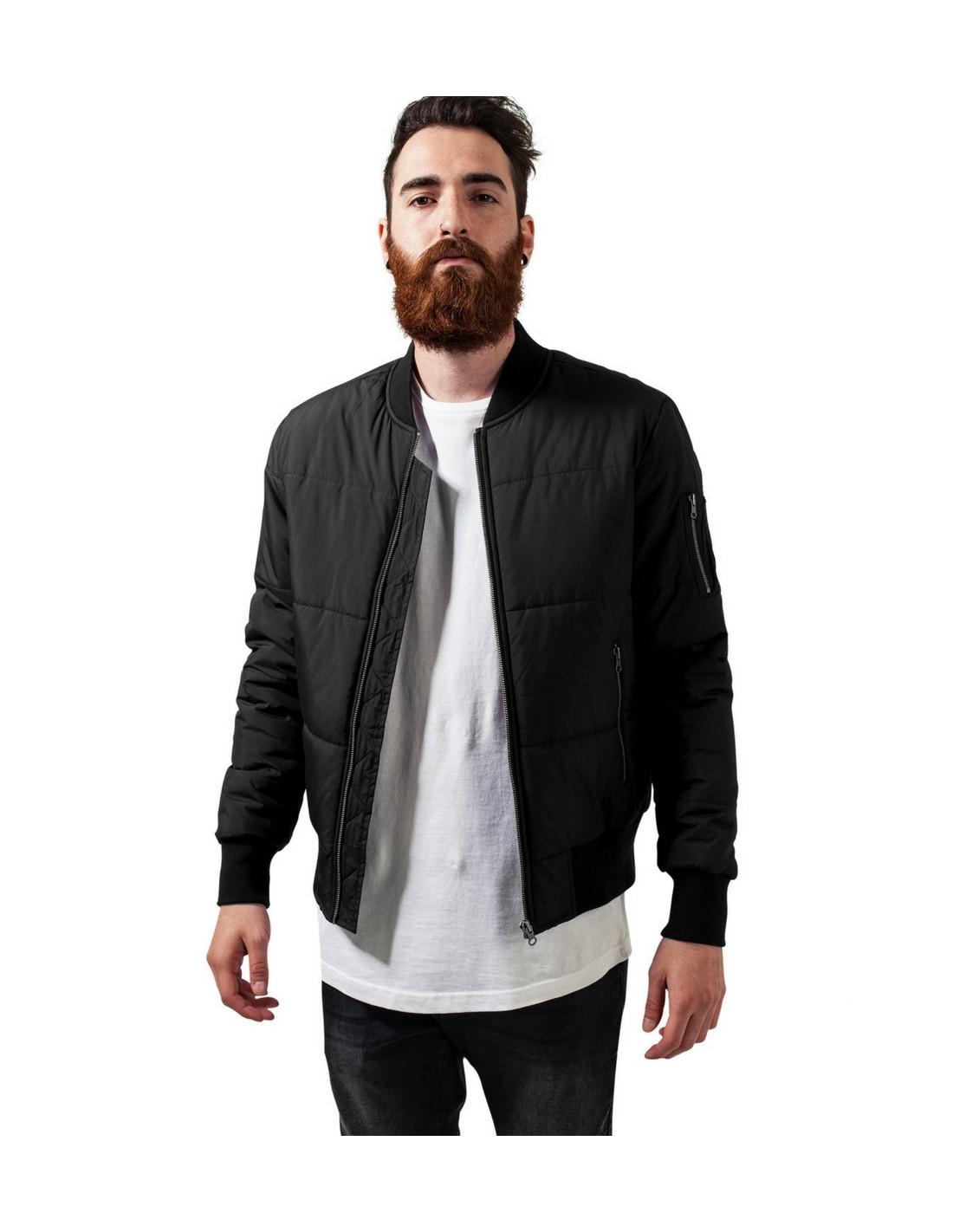 Basic Quilt Bomber Jacket Black