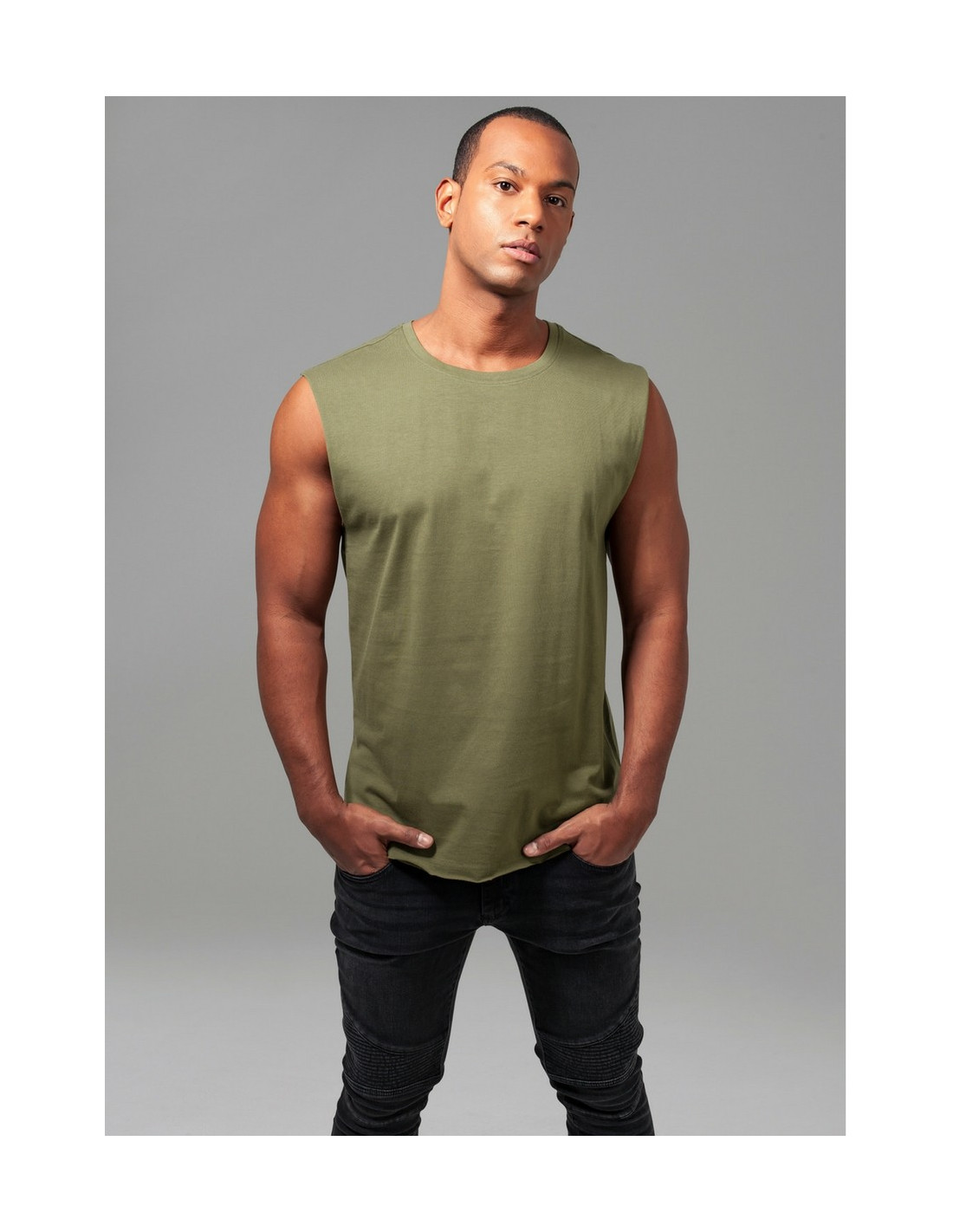 Open Edge Sleeveless Tee Olive
