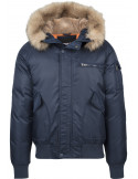 Hooded Heavy Fake Fur Bomber Jacket Navy