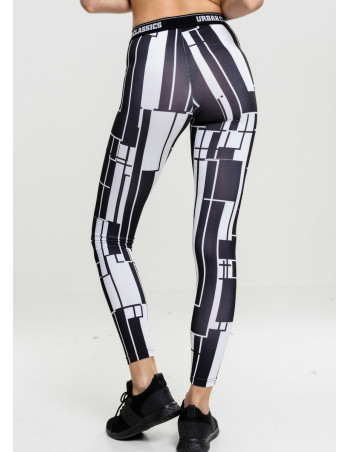 Ladies Graphic Sports Leggings Black/White