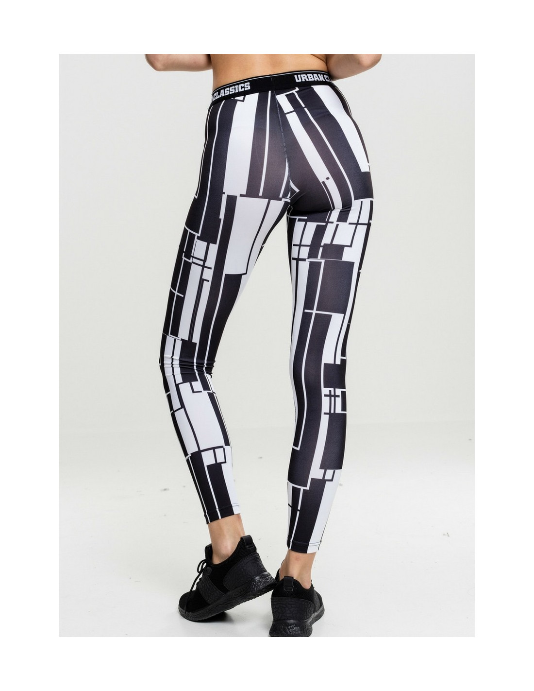Ladies Graphic Sports Leggings Black/White