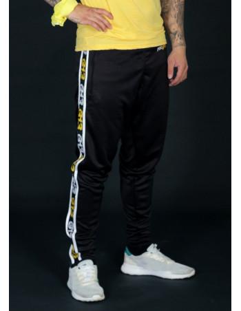 FAT313 Endurance Track Pants Black Yellow/White Stripes