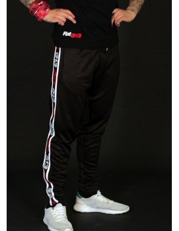 FAT313 Endurance Track Pants Black Red/White Stripes