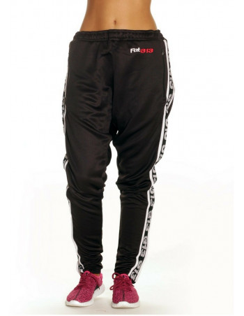 Endurance Track Pants Black with White Stripe by FAT313