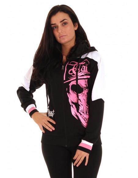 Cali Skull Track Hoodie Pink by BSAT