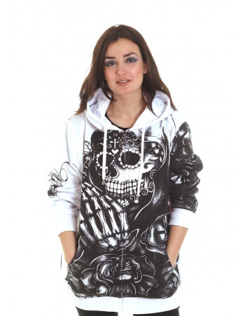 BSAT Praying Skull ZipHoodie WhiteNBlack Woman