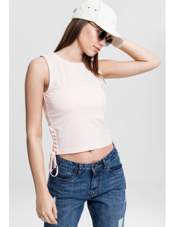 Sporty Lace Up Cropped Top Rose