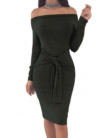 Sporty Bodycon Dress Charcoal