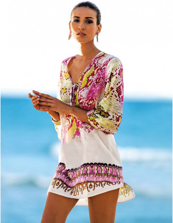 Patterned Sleeve Beach Wear