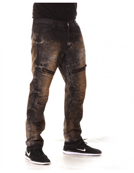 Access Denim Biker Jeans Black Copper