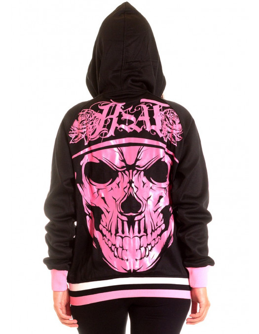 BSAT Rose Cali Skull Hoodie BlackNPink