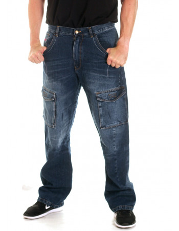 FAT313 Cargo Denim Jeans Blue Washed