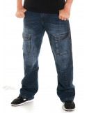 FAT313 Cargo Denim Jeans Blue Washed