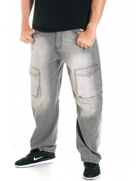 FAT313 Cargo Denim Jeans Grey Washed
