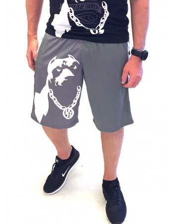 Pitbos Shorts Dog Logo Grey