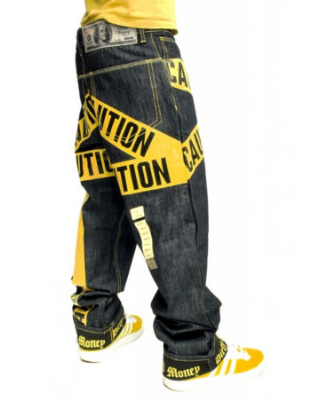 Dirty Money Yellow Caution Jeans Blue