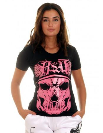 BSAT Rose Cali Skull Tee BlackNPink