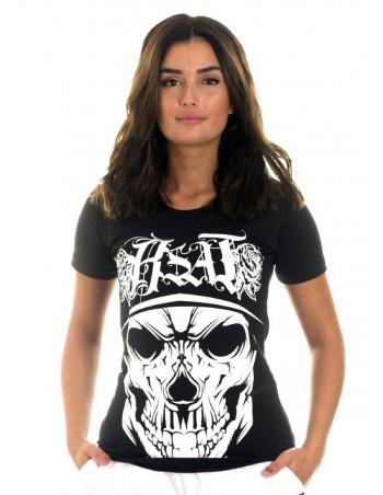 BSAT Rose Cali Skull Tee BlackNWhite
