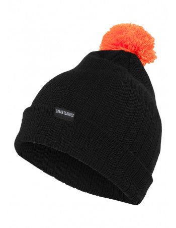 Contrast Bobble Beanie BlackNOrange