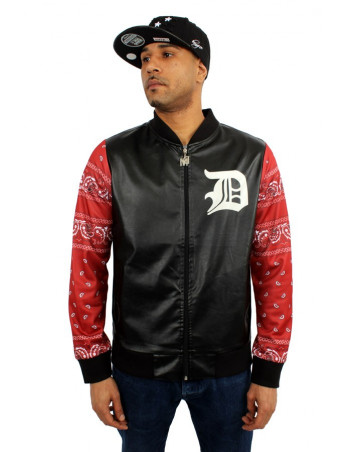 Dirty Money Faux Leather Bandana College Jacket BlackNRed