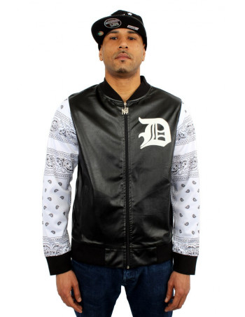 Dirty Money Faux Leather Black Bandana College Jacket