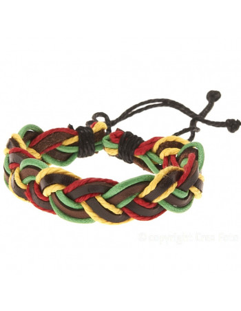 Leather Bracelet - Braided Rasta