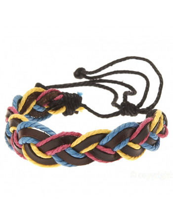 Leather Bracelet - Braided Pink, Blue and Yellow