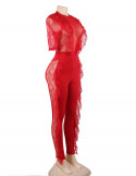 BadGal Lace JumpSuit Red