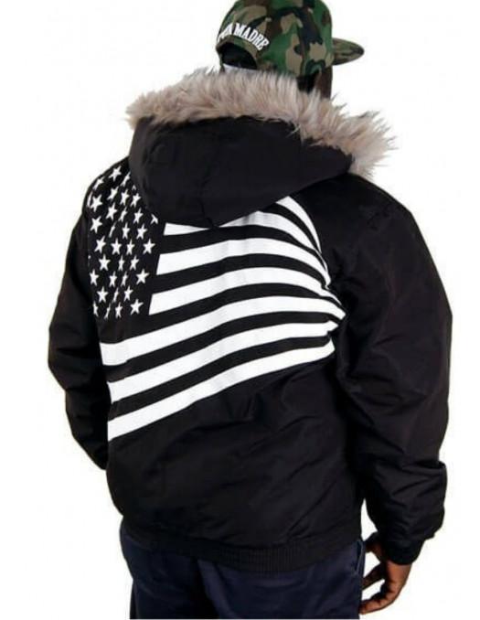 Cocaine Life Flag Winter Jacket Black